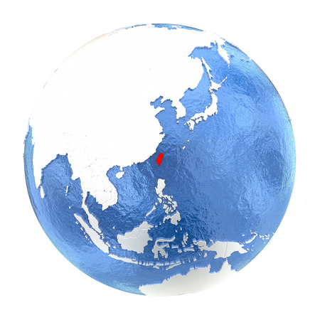 Map of Taiwan on elegant metallic globe with watery oceans. 3D illustration isolated on white background.