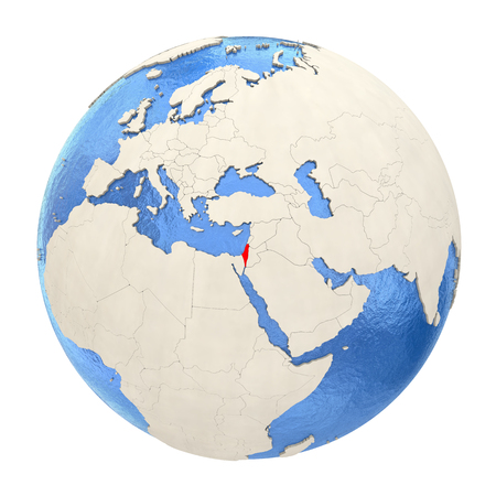 Map of Israel on political globe with watery oceans and embossed continents. 3D illustration isolated on white background.