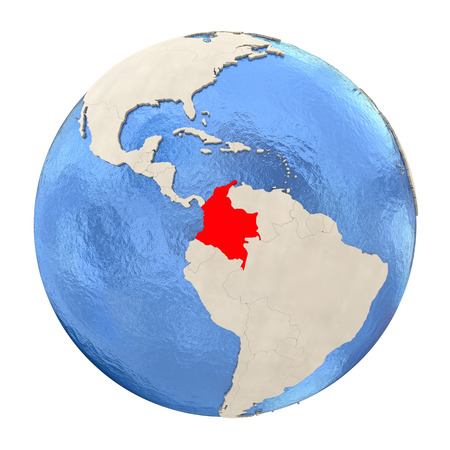 Map of Colombia on political globe with watery oceans and embossed continents. 3D illustration isolated on white background. Stock Photo