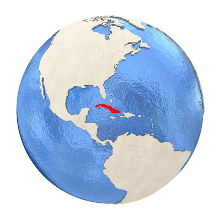 Map of Cuba on political globe with watery oceans and embossed continents. 3D illustration isolated on white background.