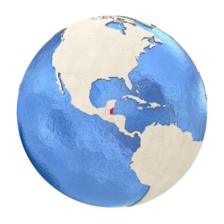 Map of Belize on political globe with watery oceans and embossed continents. 3D illustration isolated on white background.