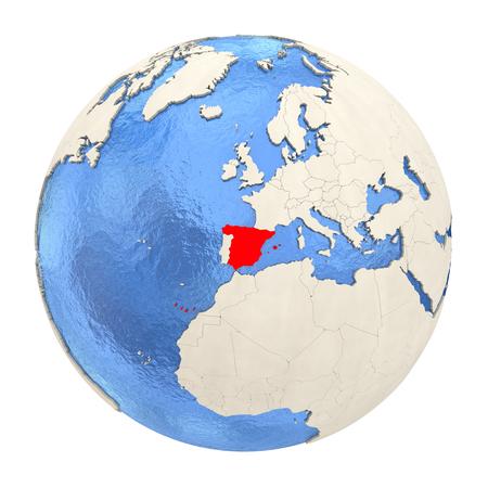 물 바다와 양각 된 대륙 정치 지구에 스페인의지도. 3D 그림 흰색 배경에 고립입니다. 스톡 콘텐츠