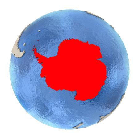 Karte der Antarktis auf politischen Globus mit wässrigen Ozeanen und geprägten Kontinenten. Illustration 3D lokalisiert auf weißem Hintergrund.