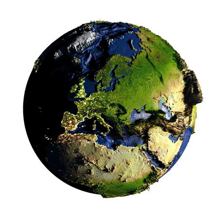 海の底を含む誇張された表面の特徴と地球のヨーロッパ。3 D の図は、白い背景で隔離。