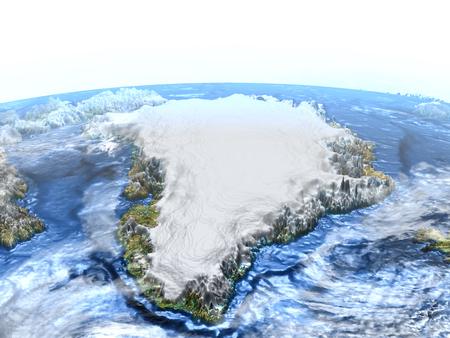 Greenland and Iceland on 3D model of Earth. 3D illustration with plastic planet surface and ocean floor.