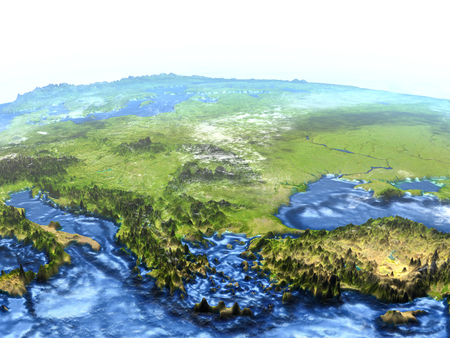 Turkey and Black sea region on 3D model of Earth. 3D illustration with plastic planet surface and ocean floor.