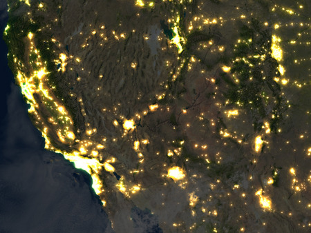 colorado rocky mountains: California at night. 3D illustration with detailed planet surface and visible city lights. Stock Photo