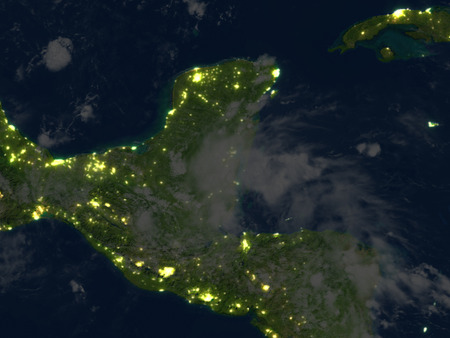 Yucatan at night. 3D illustration with detailed planet surface and visible city lights. Elements of this image furnished by NASA.