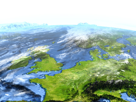 manche: Western Europe on 3D model of Earth. 3D illustration with plastic planet surface and ocean floor.
