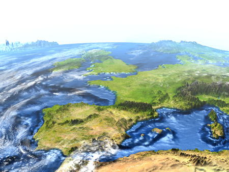 Iberia on 3D model of Earth. 3D illustration with plastic planet surface and ocean floor.