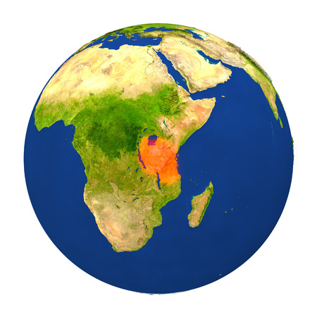 tanzania: Country of Tanzania highlighted on globe. 3D illustration with detailed planet surface isolated on white background.