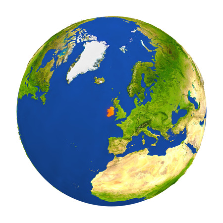 Country of Ireland highlighted on globe. 3D illustration with detailed planet surface isolated on white background.