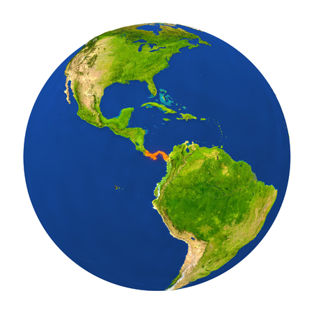 panamanian: Country of Panama highlighted on globe. 3D illustration with detailed planet surface isolated on white background.