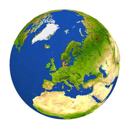 Country of Denmark highlighted on globe. 3D illustration with detailed planet surface isolated on white background. Stock Photo