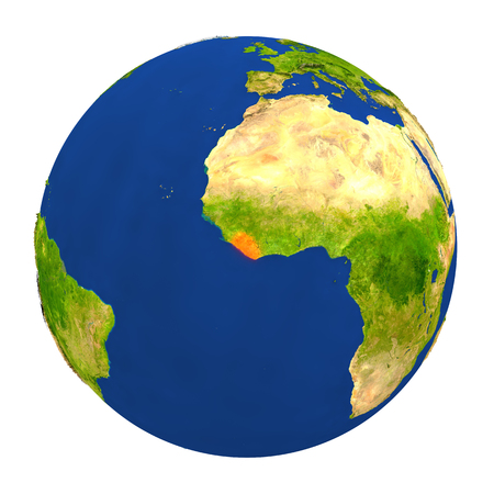 Country of Liberia highlighted on globe. 3D illustration with detailed planet surface isolated on white background.