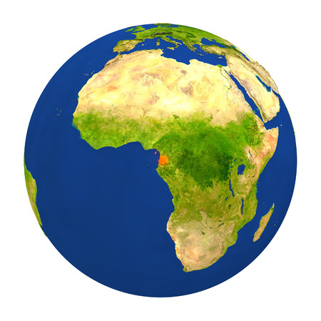 Country of Equatorial Guinea highlighted on globe. 3D illustration with detailed planet surface isolated on white background.