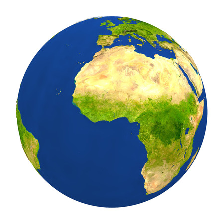 Country of Ghana highlighted on globe. 3D illustration with detailed planet surface isolated on white background.