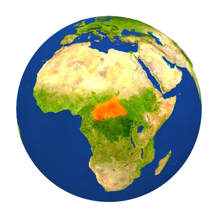 Country of Central Africa highlighted on globe. 3D illustration with detailed planet surface isolated on white background.