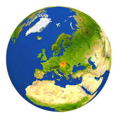 Country of Slovakia highlighted on globe. 3D illustration with detailed planet surface isolated on white background.