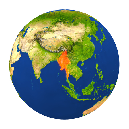 burmese: Country of Myanmar highlighted on globe. 3D illustration with detailed planet surface isolated on white background.