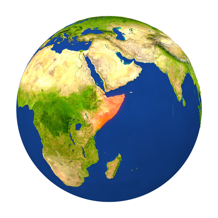 Country of Somalia highlighted on globe. 3D illustration with detailed planet surface isolated on white background.