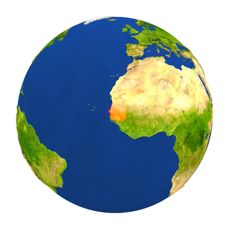 Country of Senegal highlighted on globe. 3D illustration with detailed planet surface isolated on white background.
