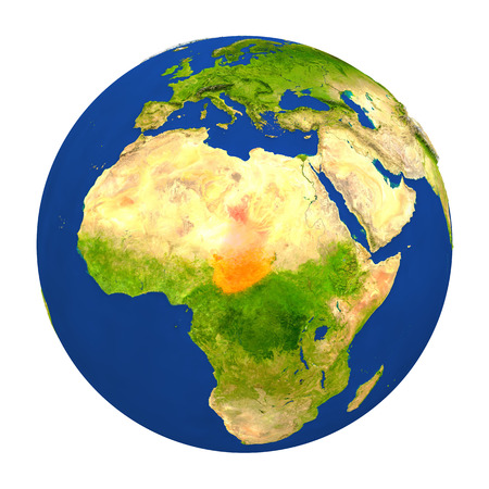chadian: Country of Chad highlighted on globe. 3D illustration with detailed planet surface isolated on white background. Stock Photo