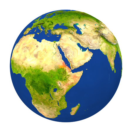Country of Eritrea highlighted on globe. 3D illustration with detailed planet surface isolated on white background.
