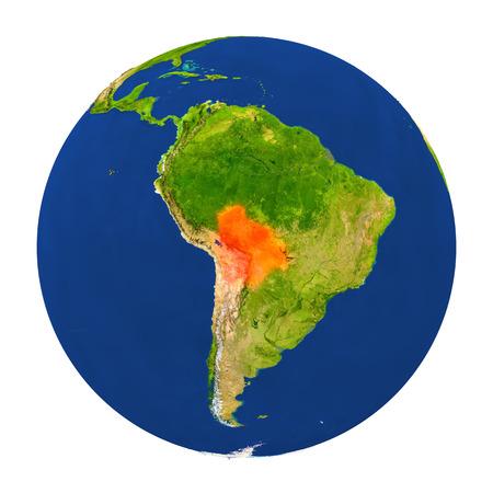 map bolivia: El país de Bolivia se destacó en el mundo. Ilustración 3D con superficie de planeta detallada aislada sobre fondo blanco. Foto de archivo