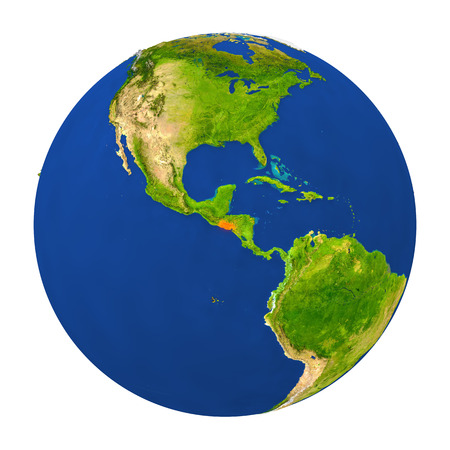 mapa de el salvador: Country of El Salvador highlighted on globe. 3D illustration with detailed planet surface isolated on white background.