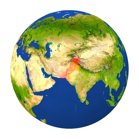 Country of Pakistan highlighted on globe. 3D illustration with detailed planet surface isolated on white background.
