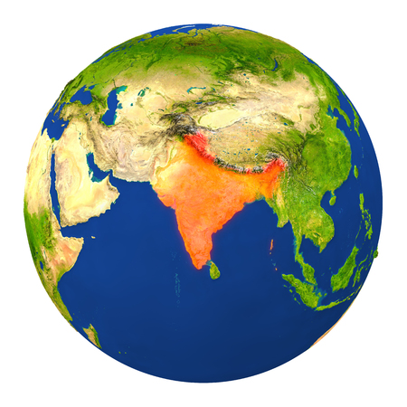 Country of India highlighted on globe. 3D illustration with detailed planet surface isolated on white background.