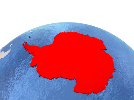 Map of Antarctica on globe with embossed continents. 3D illustration Stock Photo