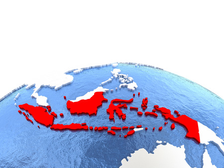 Map of Indonesia on globe with embossed continents. 3D illustration