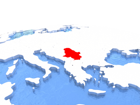 Map of Serbia on globe with embossed continents. 3D illustration