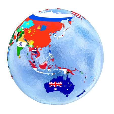 Australasia on political globe with national flags embedded in map. 3D illustration isolated on white background.