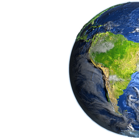South America on 3D model of Earth. 3D illustration with plastic planet surface and ocean floor. Blank space for your copy on the left side. Elements of this image furnished by NASA.