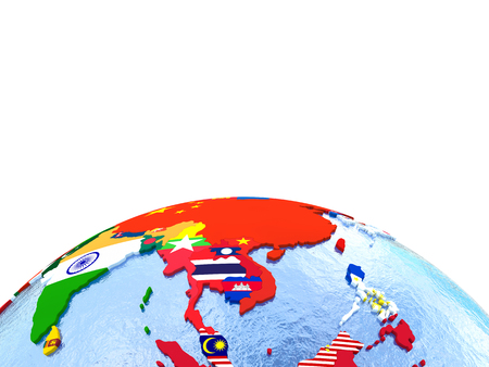 embedded: Asia on political globe with national flags embedded in map. 3D illustration. Lot of space left blank for your copy.