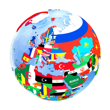 embedded: Europe on political globe with national flags embedded in map. 3D illustration isolated on white background. Stock Photo