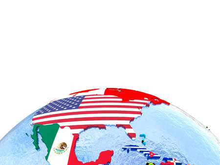 North America on political globe with national flags embedded in map. 3D illustration. Lot of space left blank for your copy.