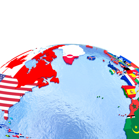 Northern Hemisphere on political globe with national flags embedded in map. 3D illustration.