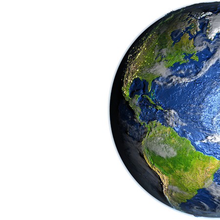 the americas: Americas on 3D model of Earth. 3D illustration with plastic planet surface and ocean floor. Blank space for your copy on the left side.