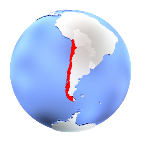 chilean: Map of Chile on metallic globe. 3D illustration isolated on white background.