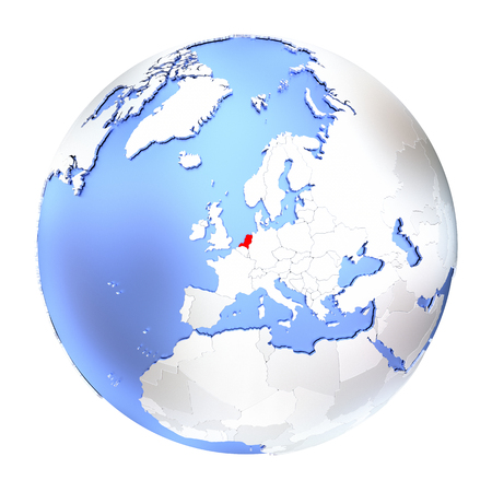 map of netherlands: Map of Netherlands on metallic globe. 3D illustration isolated on white background.