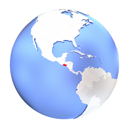 Map of El Salvador on metallic globe. 3D illustration isolated on white background.