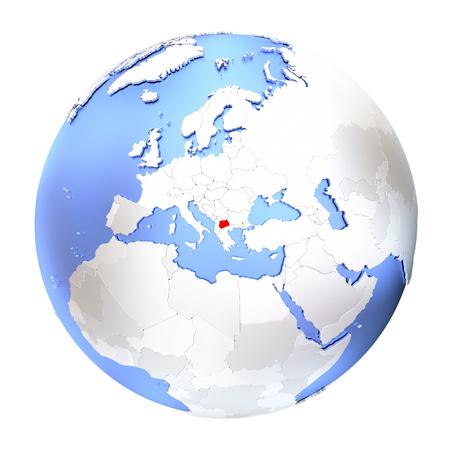 Map of Macedonia on metallic globe. 3D illustration isolated on white background.