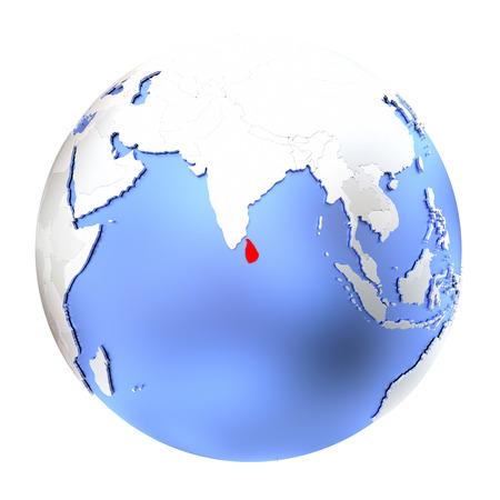 Map of Sri Lanka on metallic globe. 3D illustration isolated on white background. Stock Photo