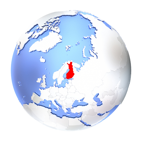 finnish: Map of Finland on metallic globe. 3D illustration isolated on white background.