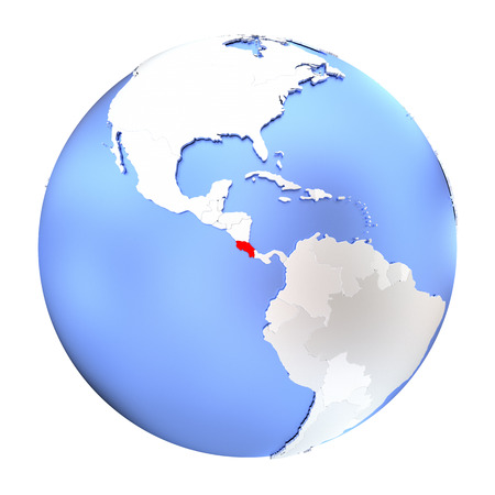 Map of Costa Rica on metallic globe. 3D illustration isolated on white background.