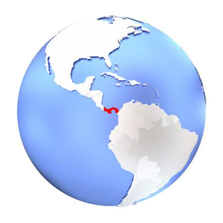 panamanian: Map of Panama on metallic globe. 3D illustration isolated on white background. Stock Photo